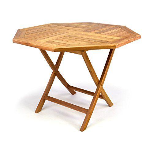 DIVERO GL05529 8 Eckiger Balkontisch Gartentisch Beistelltisch Holz Teak  Tisch Für Terrasse Balkon Wintergarten Witterungsbeständig