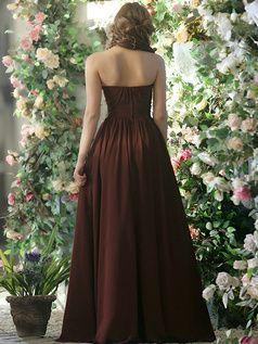 100% Maßgeschneiderte Plissee A-Linie Chiffon Halter mit Blumen bodenlangen Schokolade Brautjungfer Kleider, freies Verschiffen Preis: US $ 148,69 - VILAVI Kleider