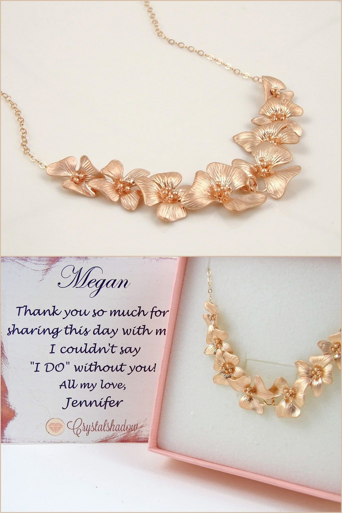 Rose Gold Statement Necklace For Bridesmaid Thank You Gift Wedding Party Ideas Bride 21st Birthday Girlfriend