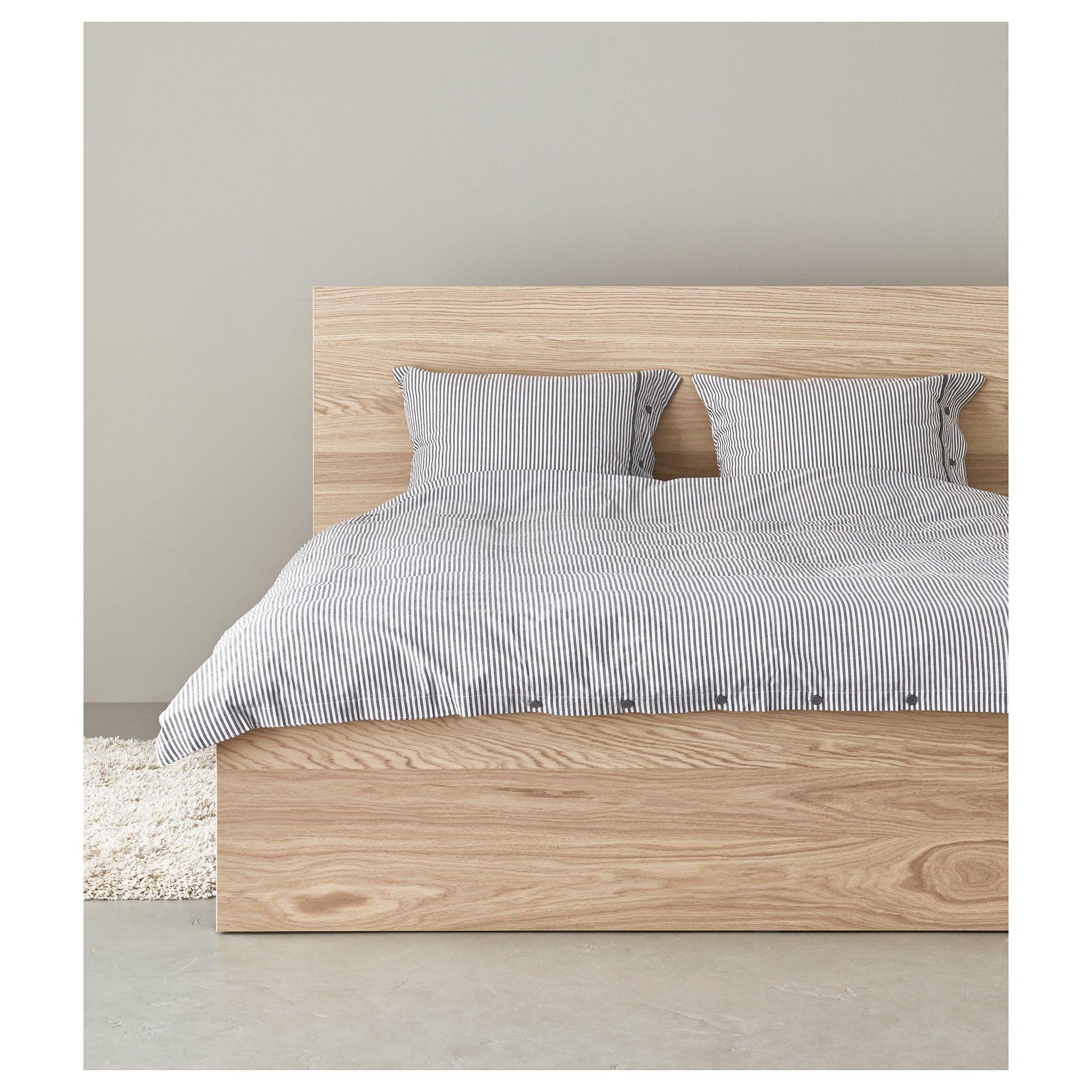 Malm Bed Frame High White Stained Oak Veneer Luroy Ikea