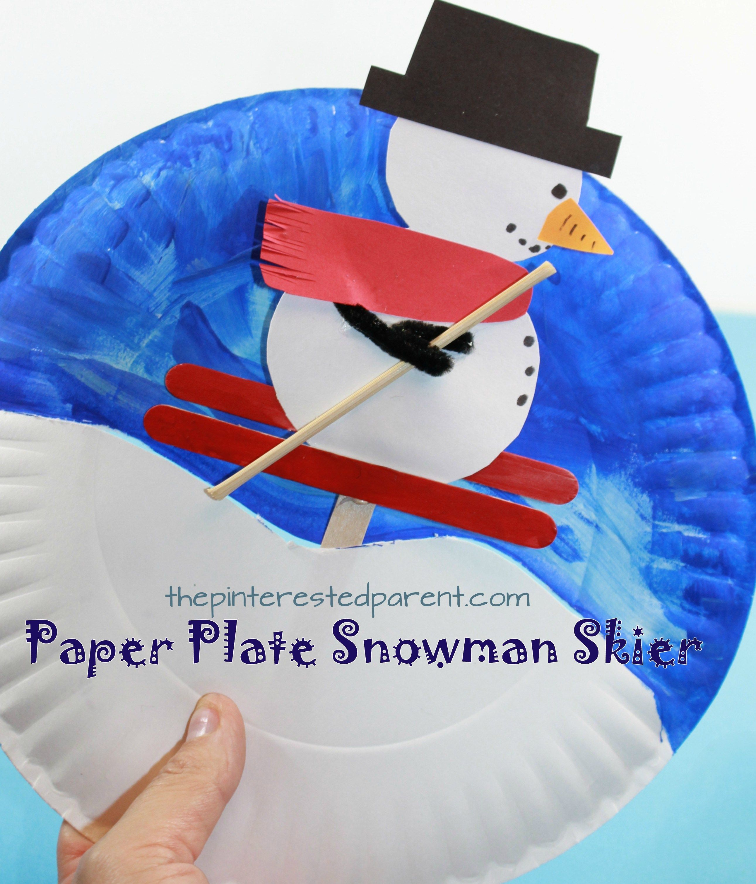Paper Plate Snowman Skier Interactive Arts And Crafts Project For