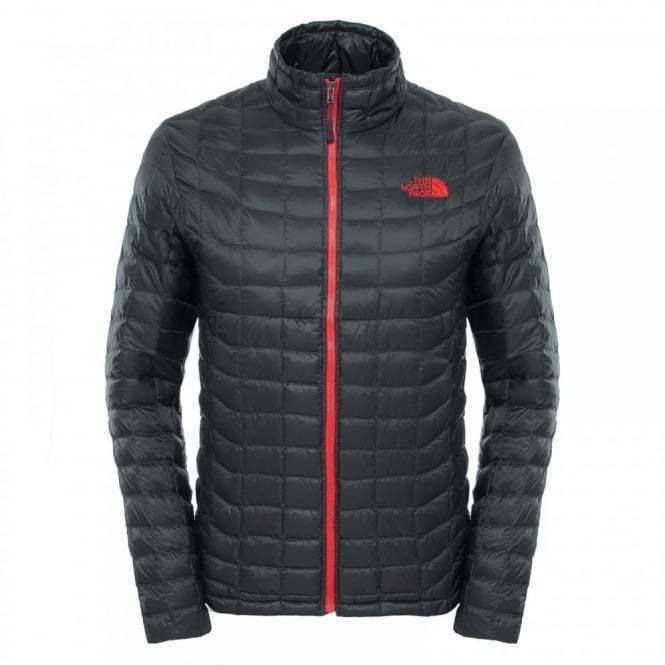 The North Face Thermoball Full Zip Jacket Asphalt Grey Red