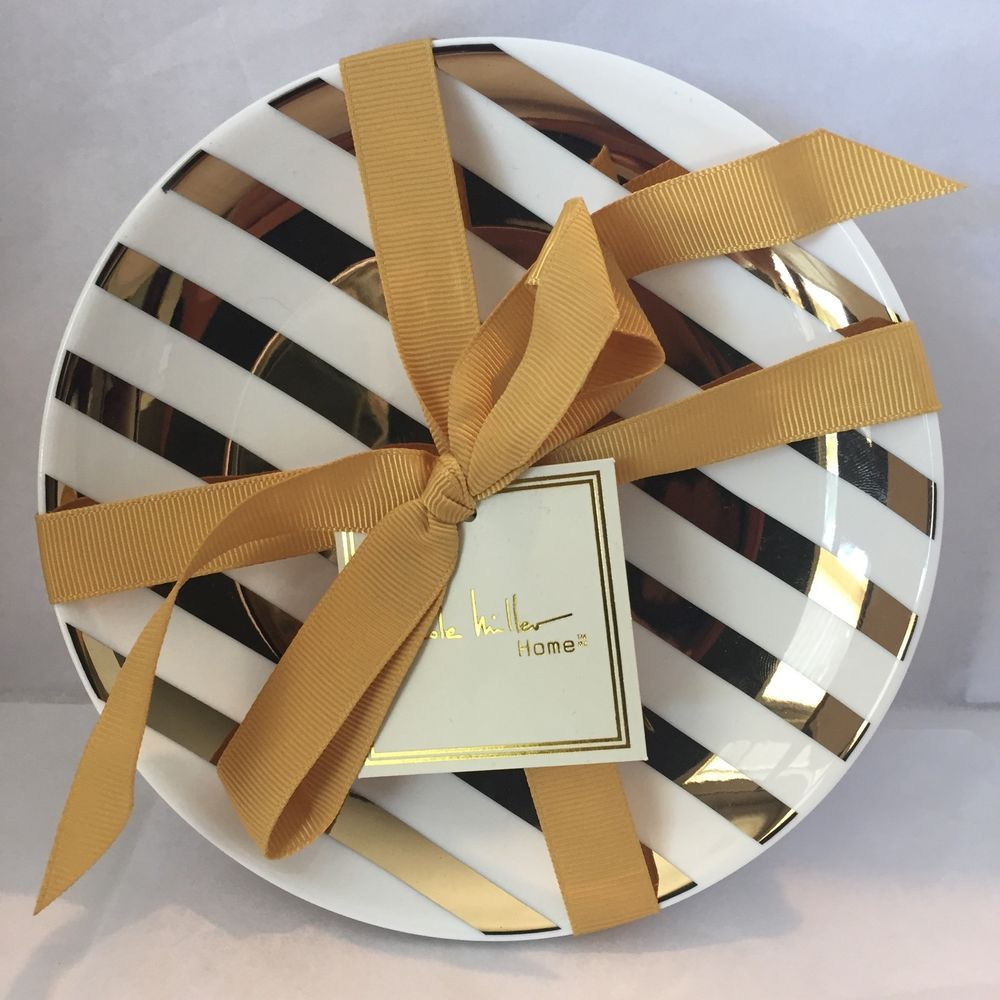 NICOLE MILLER HOME 4 APPETIZER SNACK PLATES WHITE GOLD Striped NWT     NICOLE MILLER HOME 4 APPETIZER SNACK PLATES WHITE GOLD Striped NWT Home  Decor  NicoleMillerHome