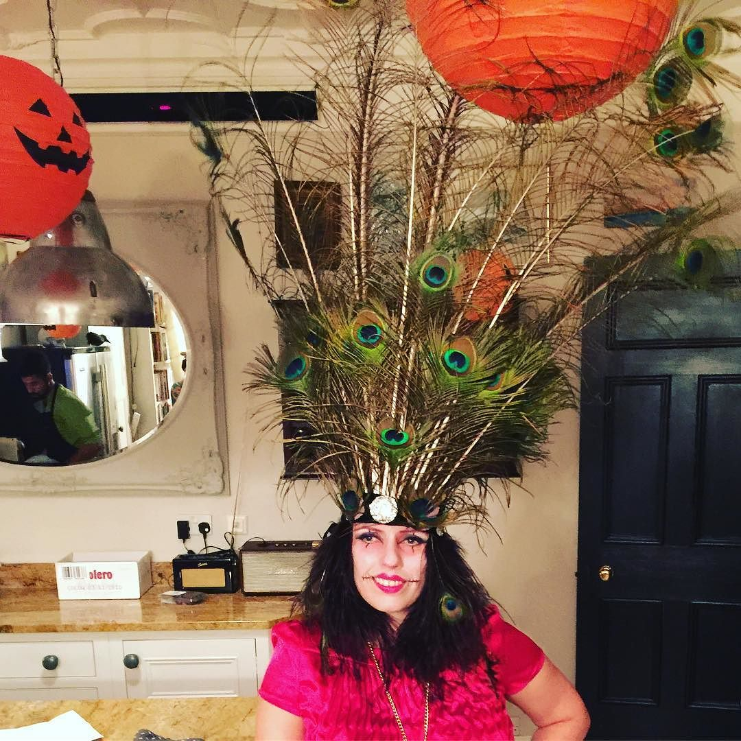 Thankyou @forest_elf_vintage for loan of amazing head dress for Halloween party