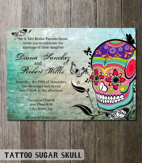 Sugar Skull Wedding Invitation Stationery Dia De Los Muertos Etsy Diy Printable Wedding Invitations Skull Wedding Invitation Sugar Skull Wedding