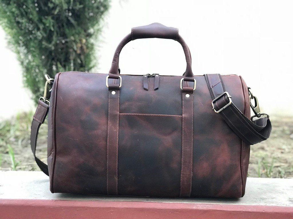 ee9a82e9999d Zakara Genuine Hunter Coffee Brown Leather Gym Bag
