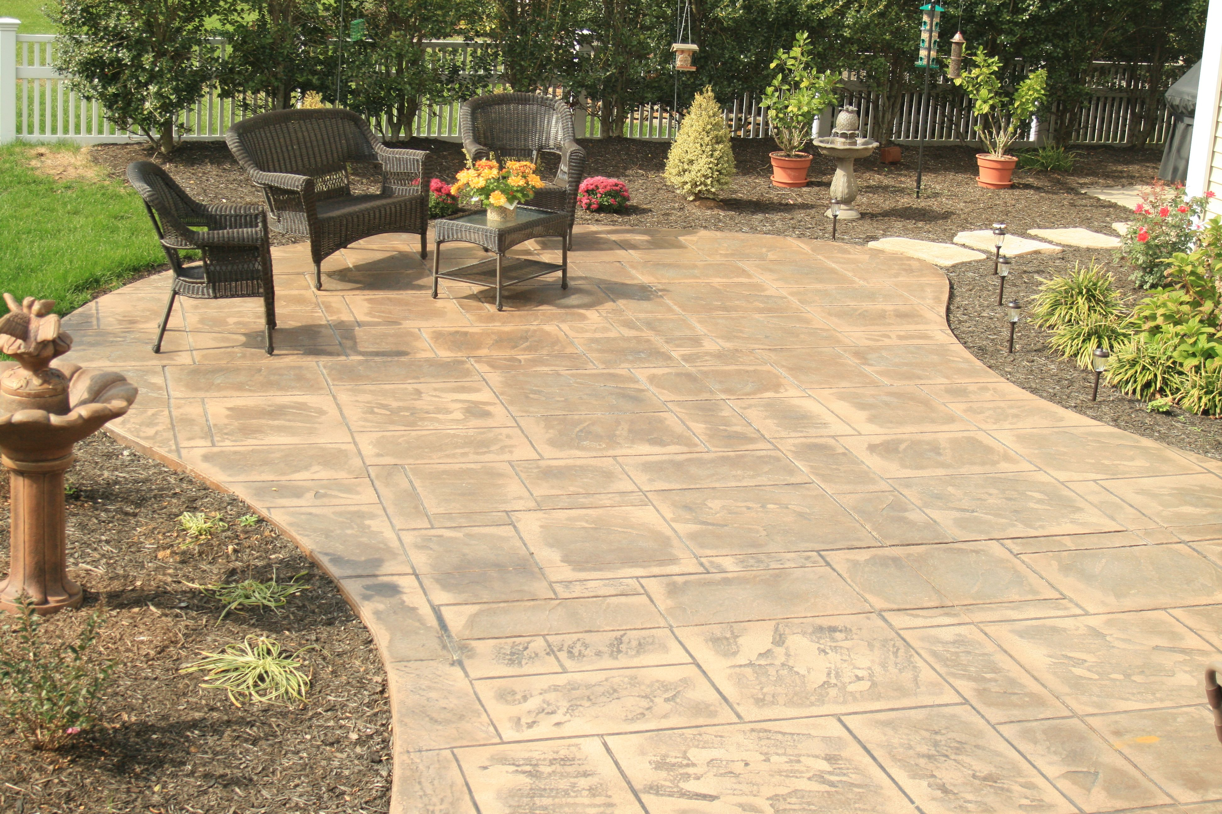 Stamped concrete patio | Patios | Pinterest | Wall fires, Grill ...