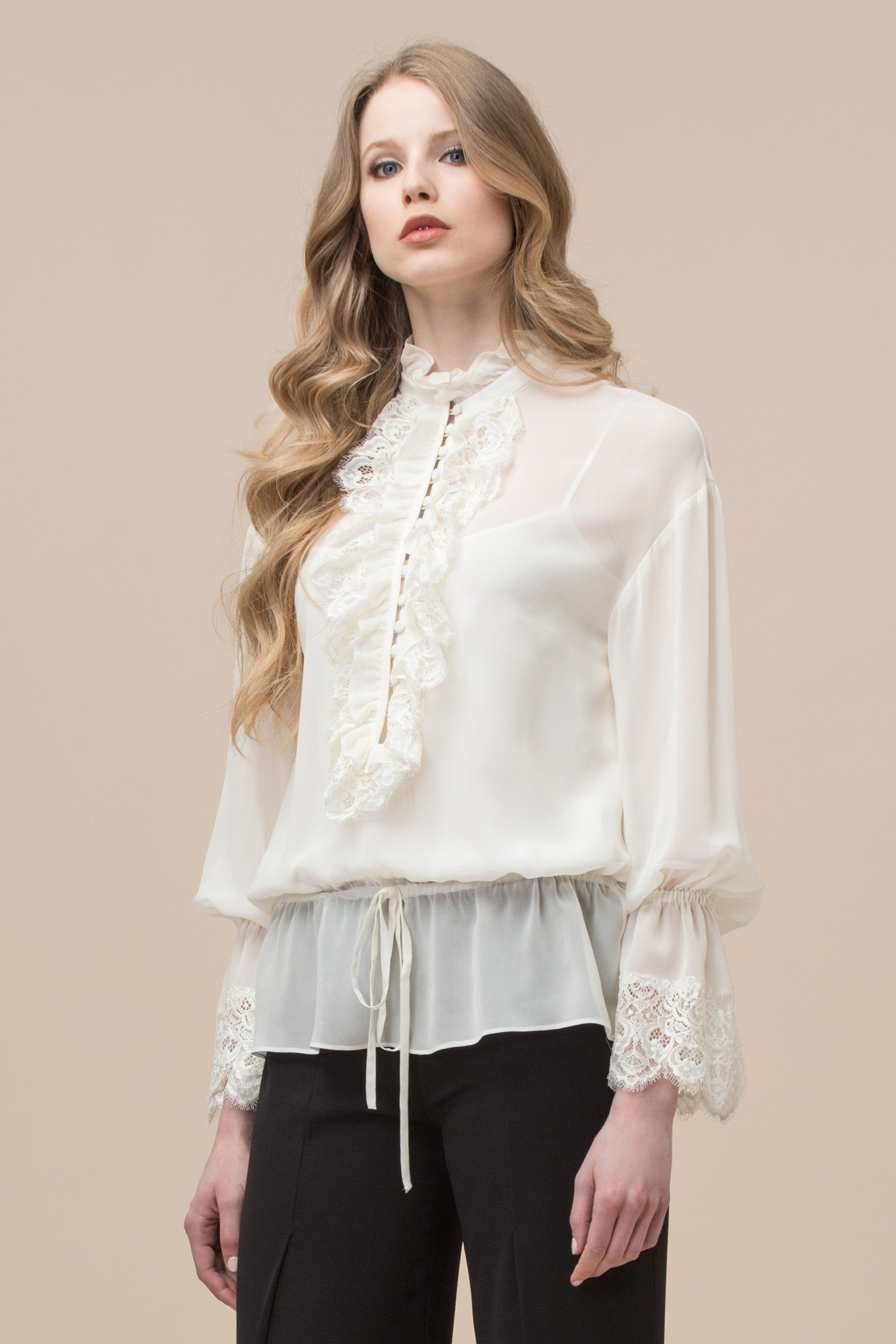 a0497d0b28405 Silk georgette blouse with lace insert Luisa Spagnoli