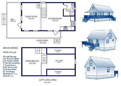 16x30 Cabin W Loft Plans Package Blueprints Material List Loft Plan Floor Plan Layout Cabin Plans