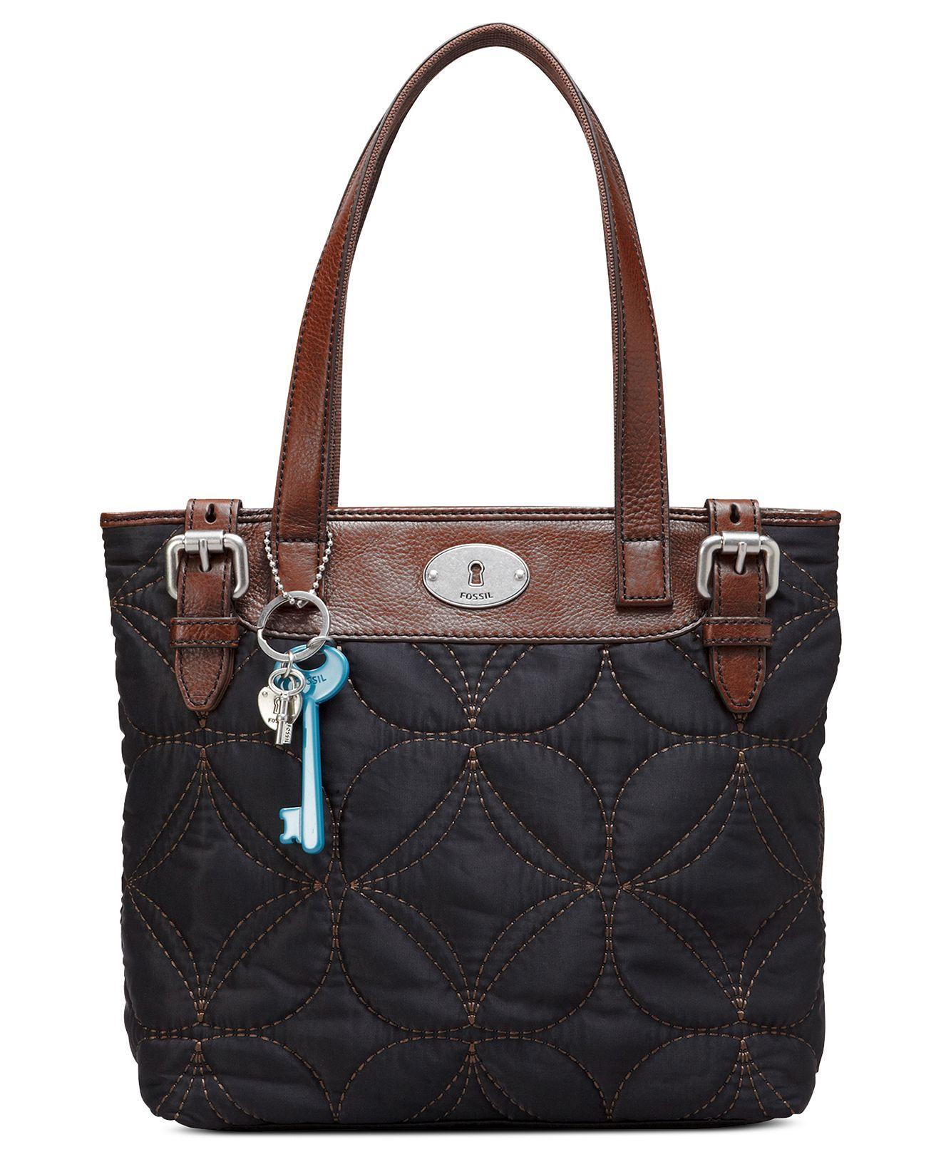 Black Fossil Handbag Key Per Nylon Macy S Online Tote Bags