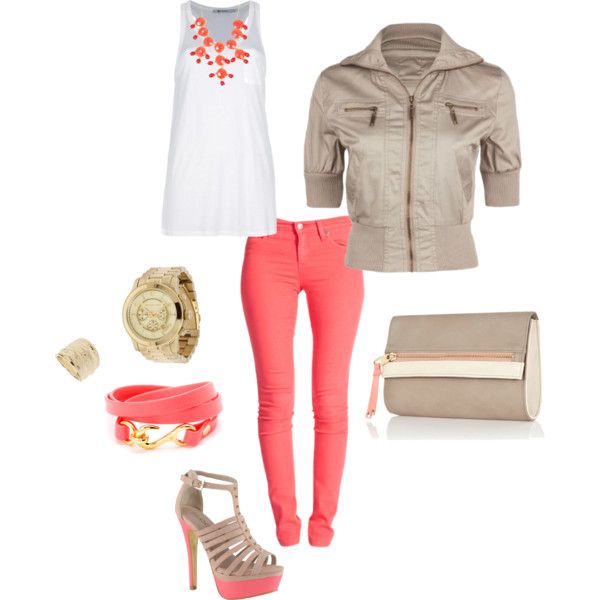 Coral & Gold, created by anasm on Polyvore