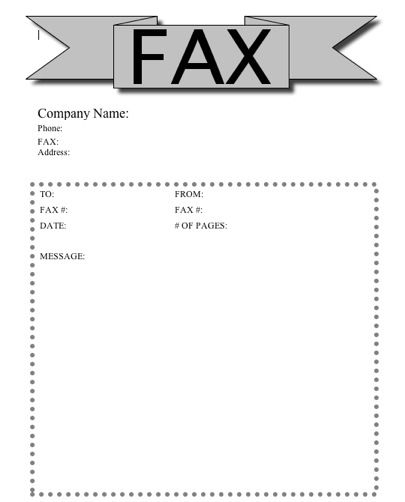 This Printable Fax Cover Sheet Has A RibbonLike Banner At The Top