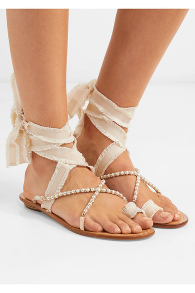 Elizabella Lace-up Embellished Leather And Grosgrain Sandals - Beige Rene Caovilla ZG4wjHx