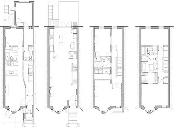 proposed 1st thru 4th floor plans | townhouse floor plans