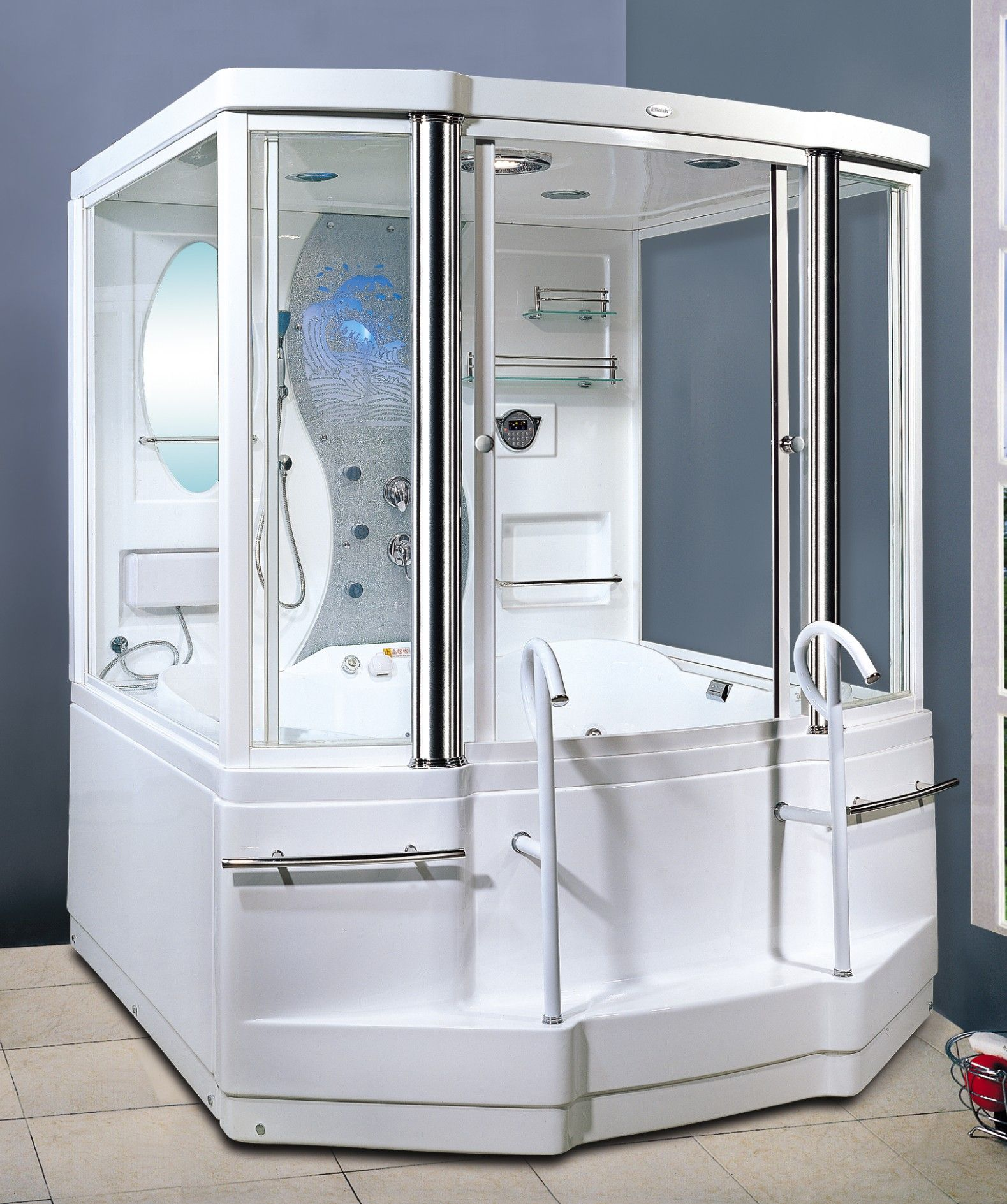 Cool steam shower tub. Also, a time machine. @thediyconsumer ...