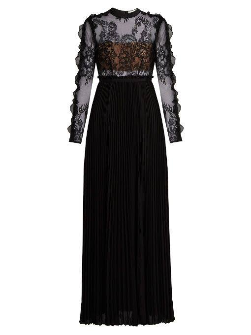 7dc979baa1df8 Self-portrait Moni lace and pleated-crepe maxi dress | Gowns I <3 ...