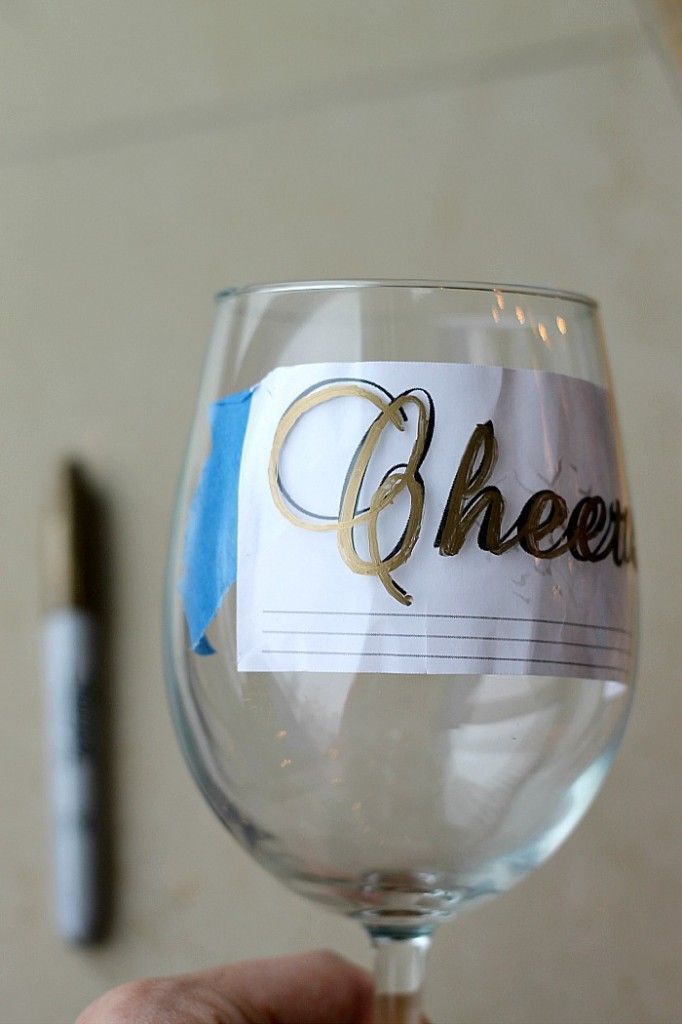 Diy wine glasses using sharpies creative idea to decorate for Type of paint to use on wine glasses