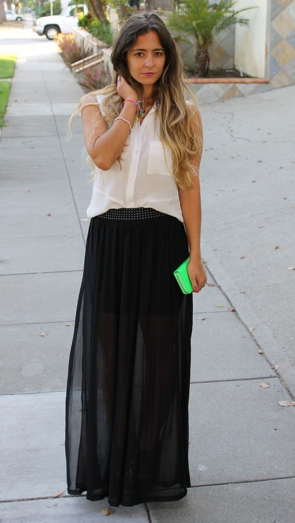 Black see-through maxi skirt outfit | Ways to wear your maxi skirt ...