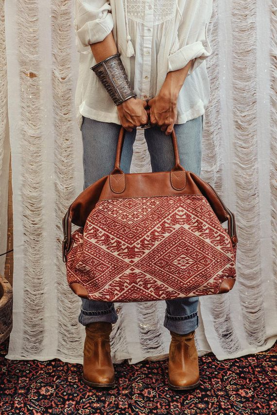 Antique Embroidered Leather Bag Tribal Boho By Hanamer