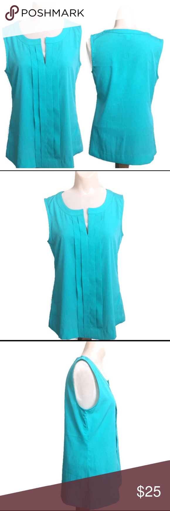 Calvin Klein Teal Pleated tank top size XS/TP Slightly used, like new. Neckline is boat shape but with a V slit. Pleated design at the front. The fabric is a little bit shiny . We promise to ship as soon as we can. We offer bundle shipping. We store our products in a smoke free home.gwbag250b2. Calvin Klein Tops Tank Tops