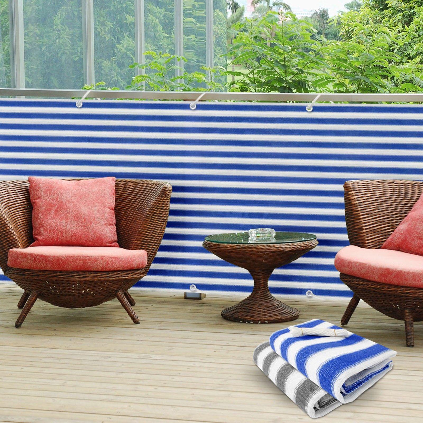 Balkonsichtschutz blau weiß gestreift 90x500cm
