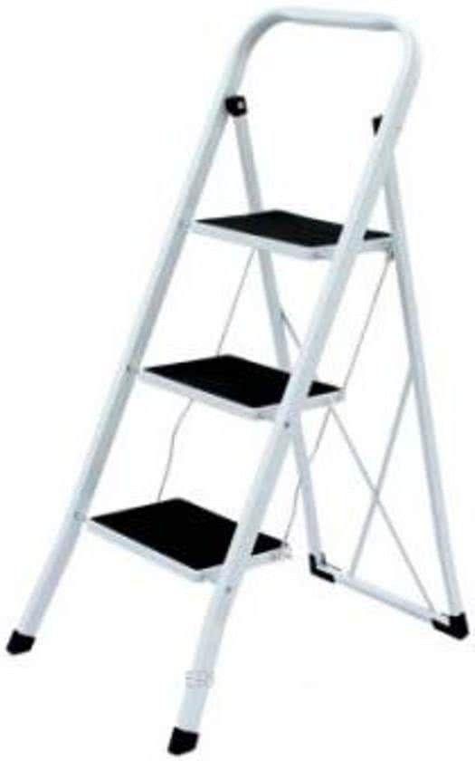 Benson Inklapbare Huishoudtrap 3 Treden Anti Slip Wit Ladder Step Stool Step Ladders