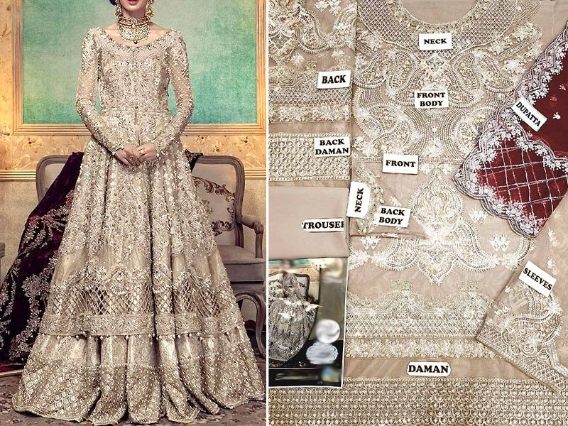 Heavy Embroidered Skin Net Bridal Maxi Dress Price In Pakistan M011537 2019 Prices Reviews Bridal Maxi Dress Embroidered Silk Dresses Pakistani Maxi Dresses,Wedding Dresses Over 50 Years Old