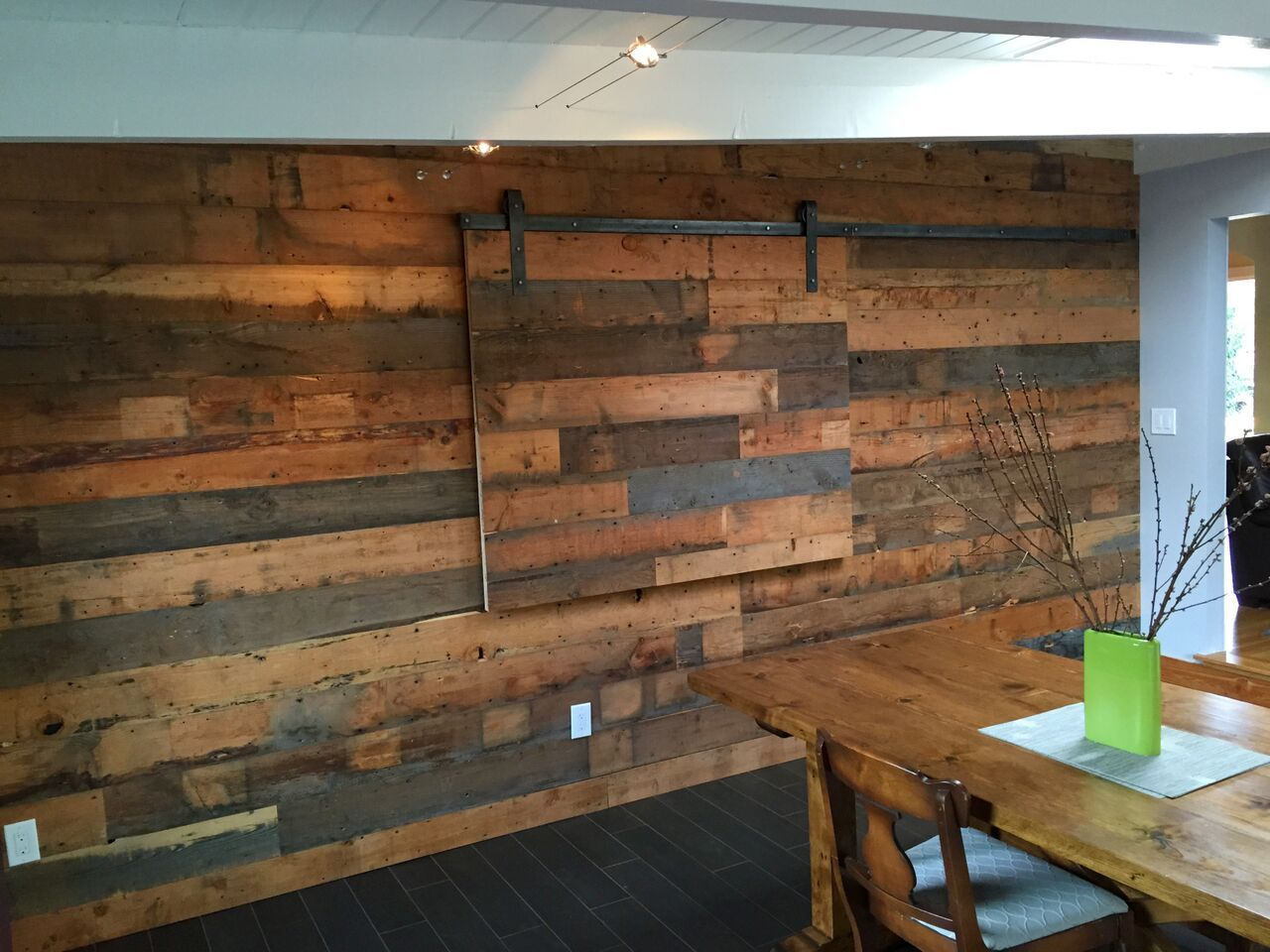 Reclaimed Fir Shiplap Wall With Hidden Tv Slider Cabinetry