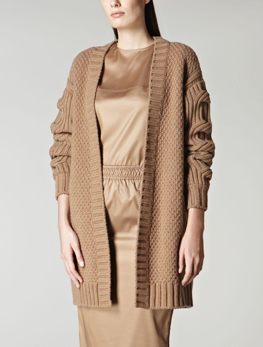 Wool and cashmere cardigan, camel - VENUSIA Max Mara   jackets and ...