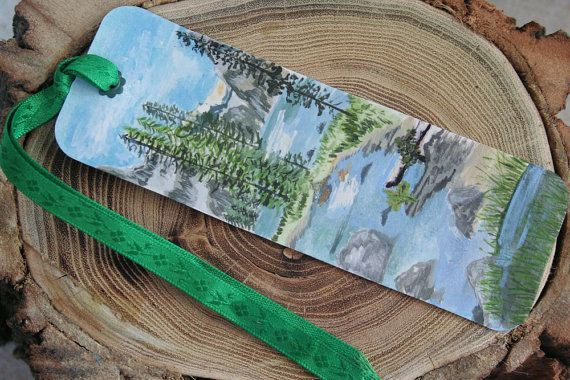 Mountain Scene Bookmark  Handpainted Stream by ArtfullyReDesigned, $12.00