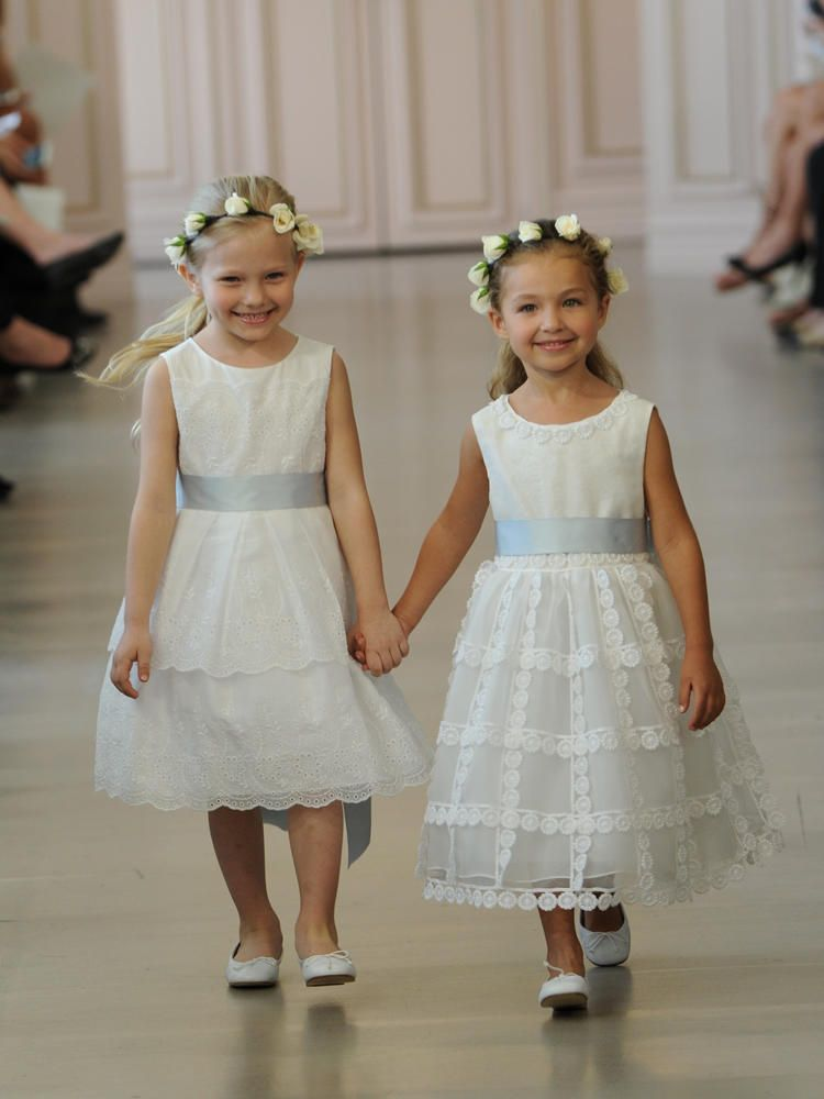 Oscar de la rentas spring 2016 collection is a tribute to the late oscar de la renta white cotton eyelet flower girl dress and ivory silk organza flower girl mightylinksfo