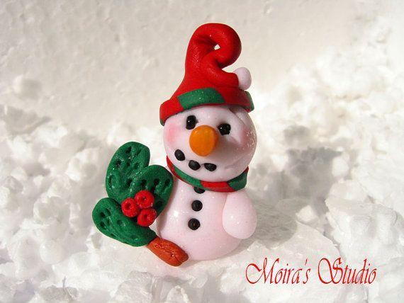 Cute Snowman Christmas Figurine  Christmas by MoirasStudio on Etsy
