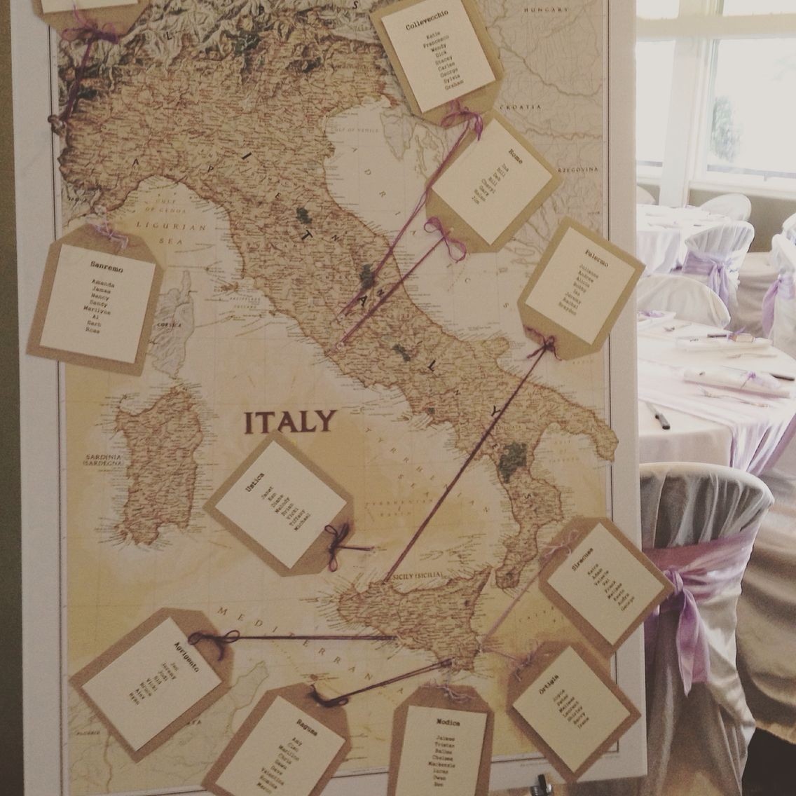Seating Chart For Reception After Italian Destination Wedding Tables Were Named Places They Went
