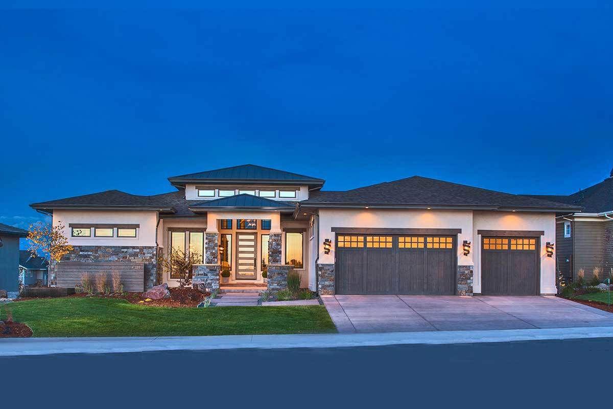 Plan 95033rw Stylish Prairie Mountain Modern House Plan In 2020 Prairie Style Houses Modern House Plan Modern Style House Plans