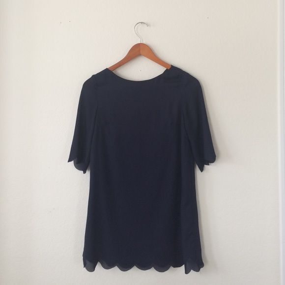 TOBI SCALLOPED SHIFT DRESS  Amazing navy scalloped shift dress from TOBI. Worn once. Same dress above but not printed. Navy is sold out online. Tobi Dresses