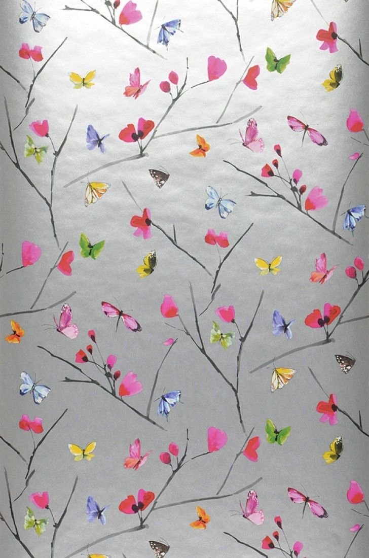 $45.92 Price per roll (per m2 $8.78), Floral wallpaper, Carrier material: Non-woven wallpaper, Surface: Smooth, Look: Matt pattern, Shimmering base surface, Design: Blossoms, Butterflies, Branches, Basic colour: Silver, Pattern colour: Heather violet, Yellow, Green, Red, Characteristics: Good lightfastness, Low flammability, Strippable, Paste the wall, Wash-resistant