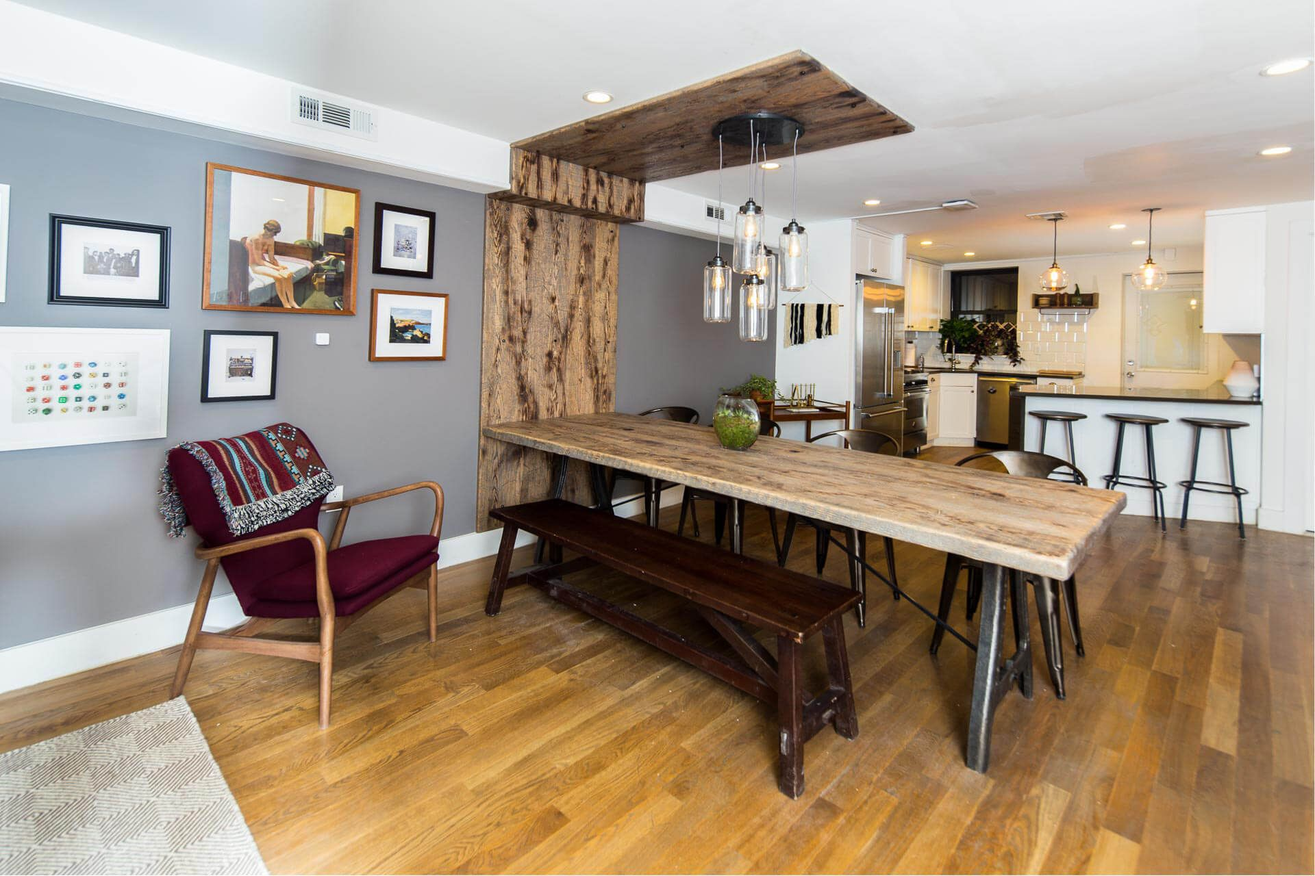 The shared dining and kitchen area at Common Albany in Crown Heights ...