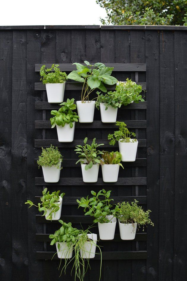 Create a Modern Vertical Garden Using IKEA Bed Slats is part of Vertical garden diy, Vertical garden design, Vertical herb garden, Small herb gardens, Gutter garden, Vertical garden - How to create a DIY modern vertical garden for small spaces using IKEA bedslats and hanging containers