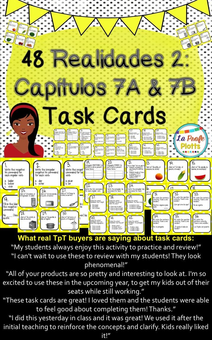 Workbooks realidades worksheets : Realidades 2: Capítulos 7A & 7B Task Cards | Spanish, Students and ...