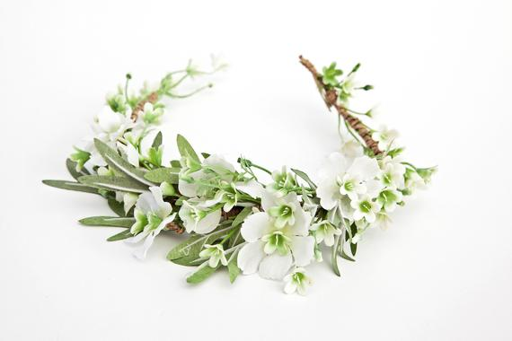 White Flower Crown Bridal Flower Crown Floral Crown Boho Etsy White Flower Crown Bridal Flower Crown Bridal Hair Flowers