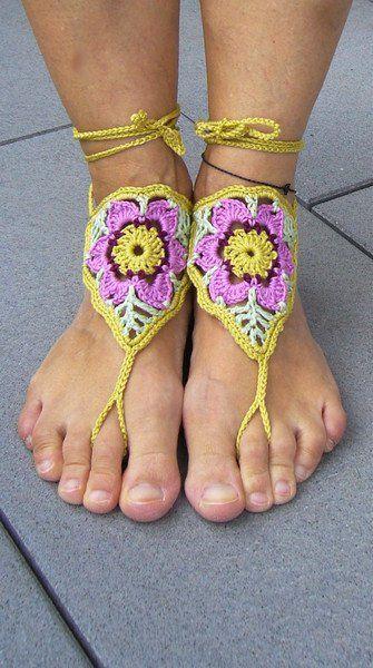 Sandalen - ••• Barfußsandalen / Fußschmuck ••• - ein Designerstück von crochet bei DaWanda