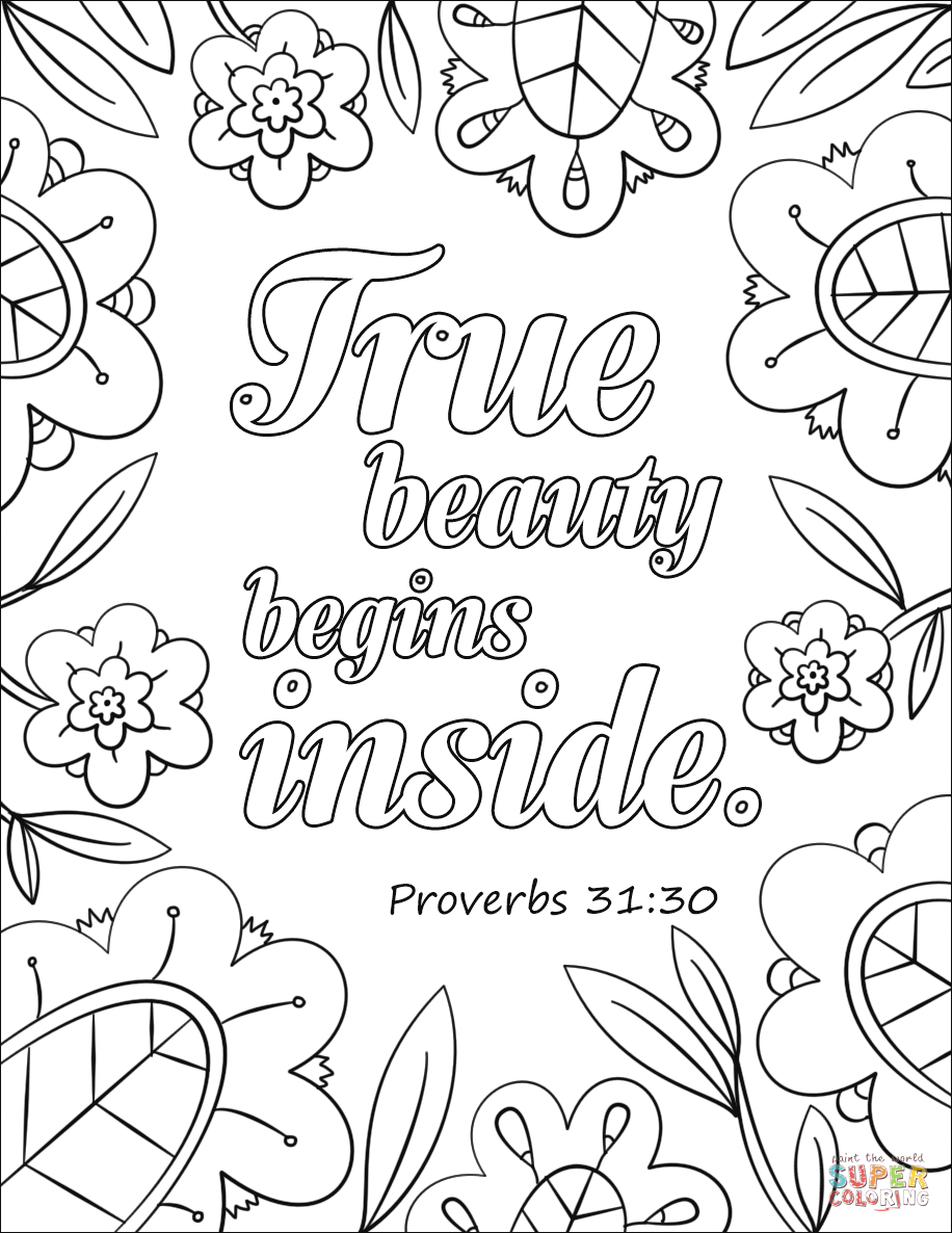 True Beauty Begins Inside coloring page from Bible Verse