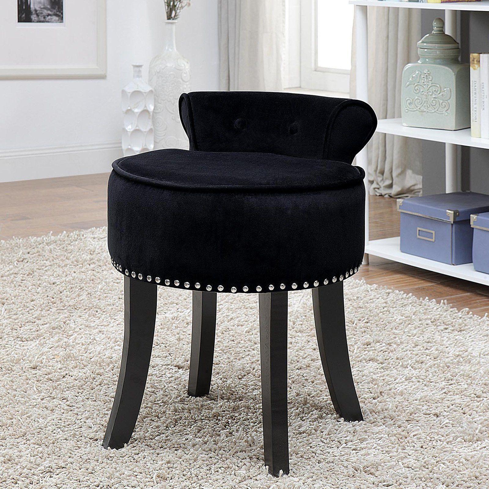 Inspired Home Elenna Velvet Contemporary Vanity Stool Black