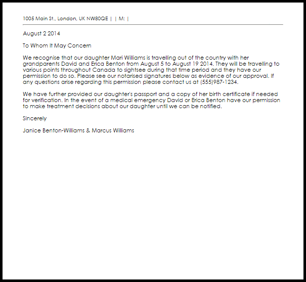 Permission Letter For Travelling Child Livecareer Sample Letters Format Request Shahid Vishal