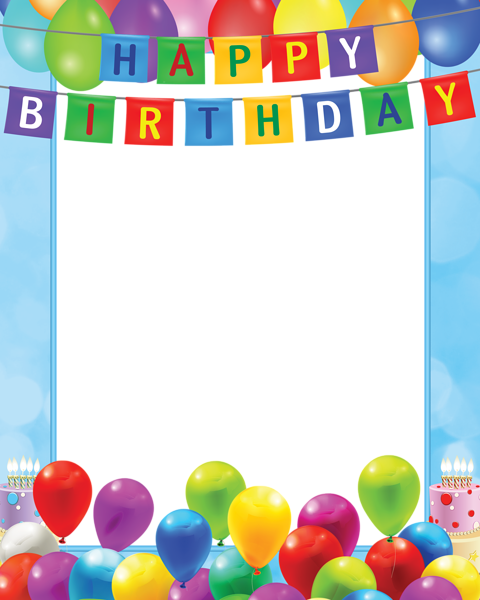Happy Birthday Card Png ~ Happy birthday transparent png blue frame frames pinterest