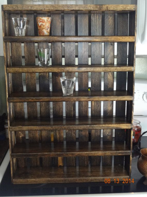 Shot Glass Display - Shot Glass Shelf - Bar Shotglass Decor - Wooden ...