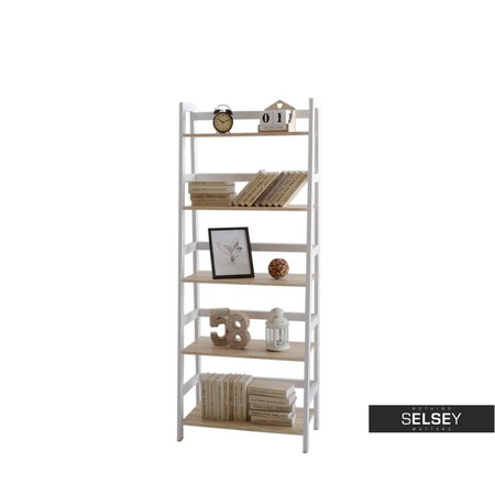 Skandynawski Regal Drabina Tower Bialy Selsey Bookcase Home Decor Ladder Bookcase