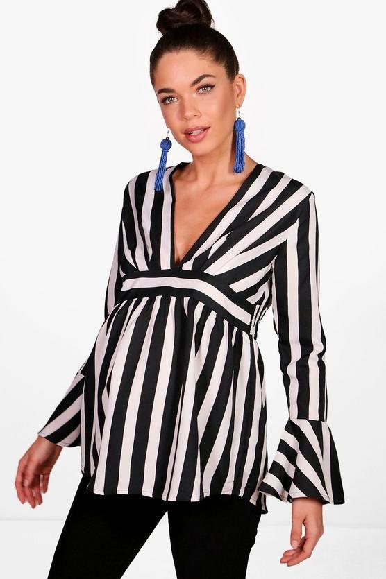 Detail baby Tophaving Stripe Ruffle Smock clothes Maternity XPkZuTOi