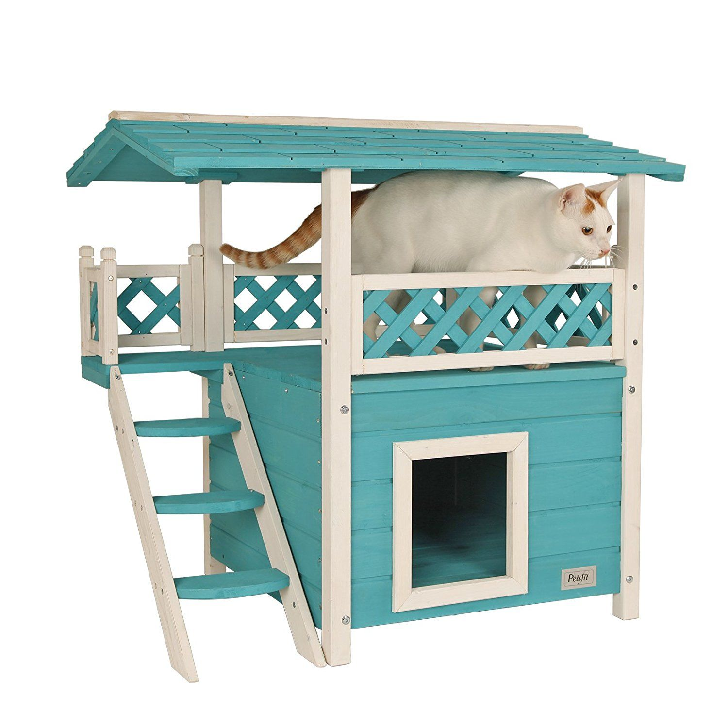Petsfit Cat House Lodge Indoor Wooden Cat House With Rest Place Double Decker Cat Home Green Color 77cm X 56cm X 73cm Wooden Cat House Wooden Cat Cat House