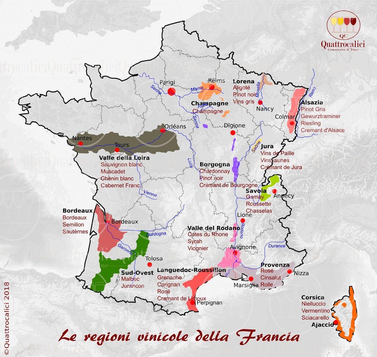 Regioni Francia Cartina.La Francia E Il Vino Vino Francese Guida Dei Vini Vino